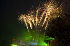 Het Europa Rad op Defqon.1 Festival als onderdeel van de vuurwerkshow
