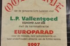 Oorkonde Egmond aan Zee 2007